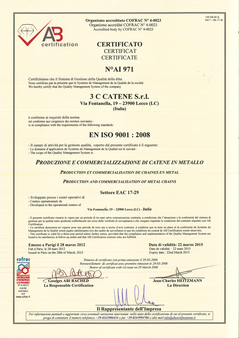 3c Catene Certificate Of Quality System Upgrade